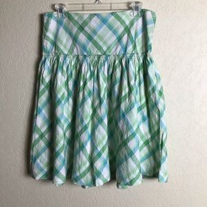 Ann Taylor Loft Linen Skirt Spring Green Plaid